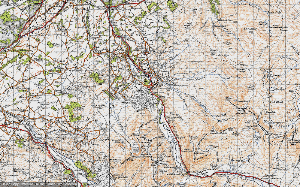 Old Map of Historic Map covering Afon Berthen in 1947
