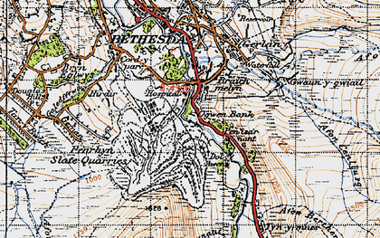 Old map of Afon Berthen in 1947
