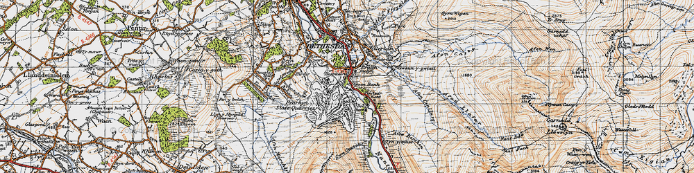 Old map of Nant Ffrancon in 1947