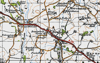 Old map of Brailsford Green in 1946
