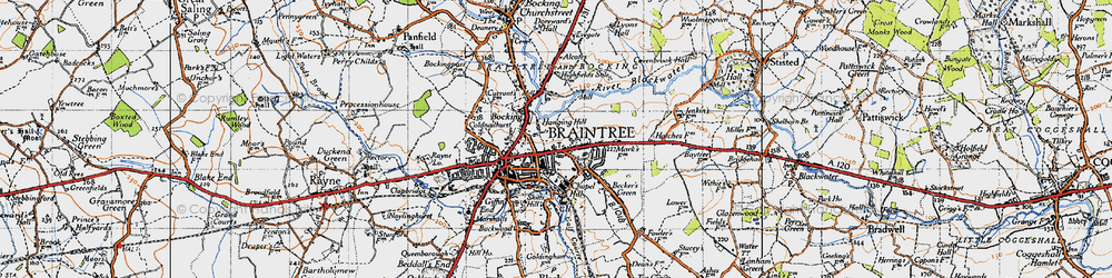 Old map of Braintree in 1945