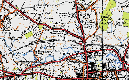 Old map of Lexden Lodge in 1945