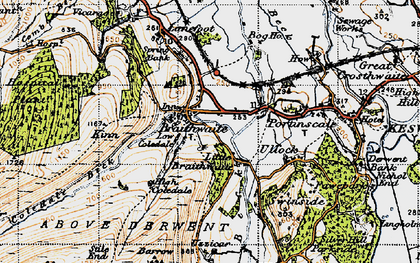 Old map of Braithwaite in 1947