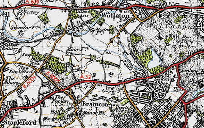 Old map of Bramcote Hills in 1946