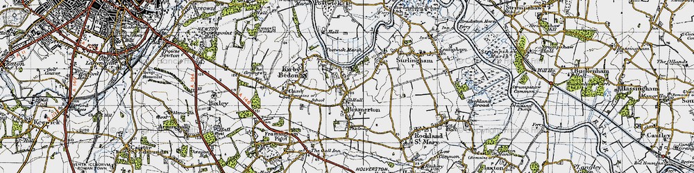 Old map of Bramerton in 1946