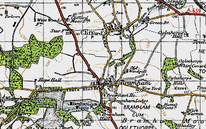 Old map of Bramham in 1947