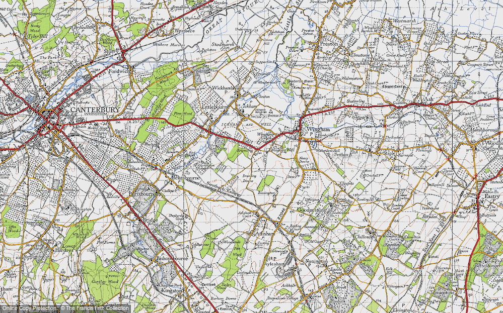 Old Map of Historic Map covering Lee Priory in 1947
