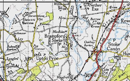 Old map of Brampford Speke in 1946