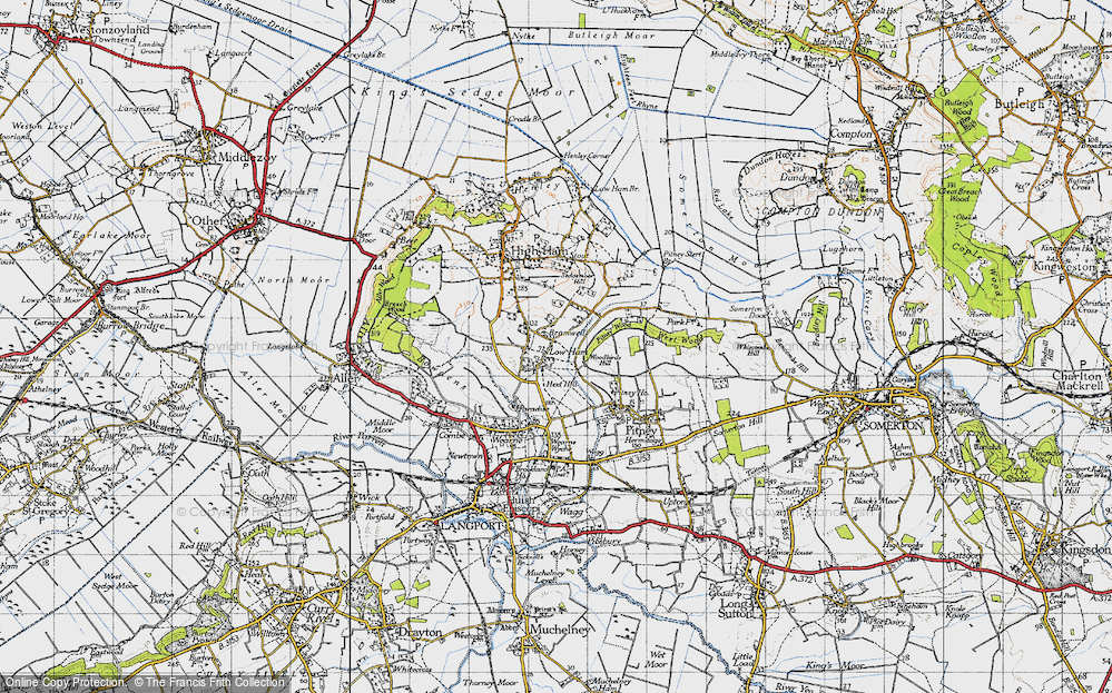 Old Map of Historic Map covering Woodbirds Hill in 1945