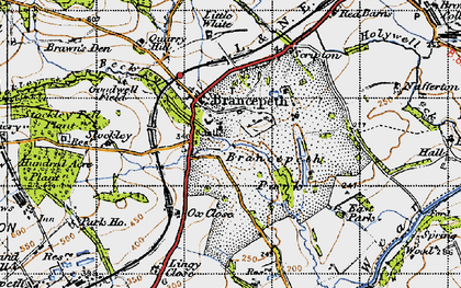Old map of Brancepeth in 1947
