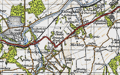 Old map of Branch End in 1947