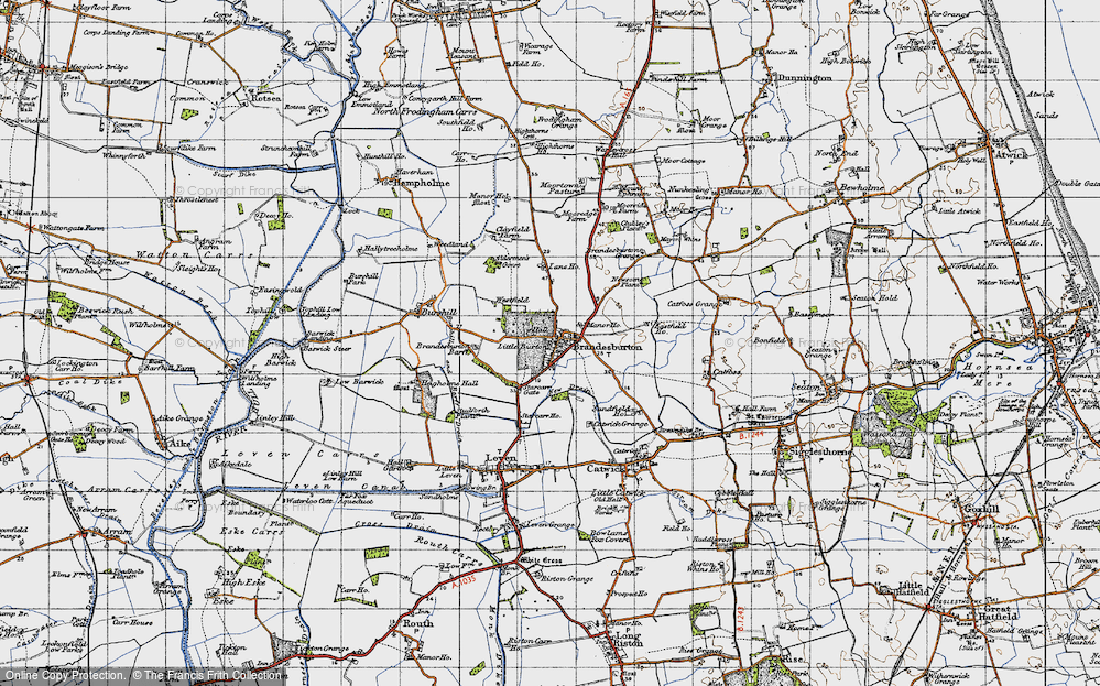 Old Map of Historic Map covering Barff Ho in 1947