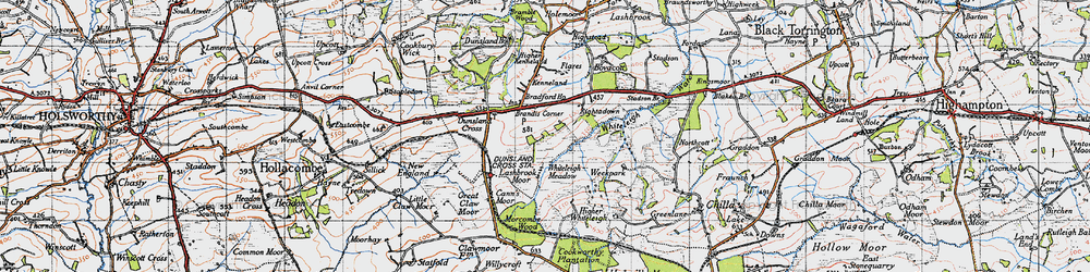 Old map of Whiteleigh Meadow in 1946