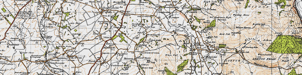 Old map of Whin Fell in 1947
