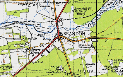 Old map of Brandon in 1946