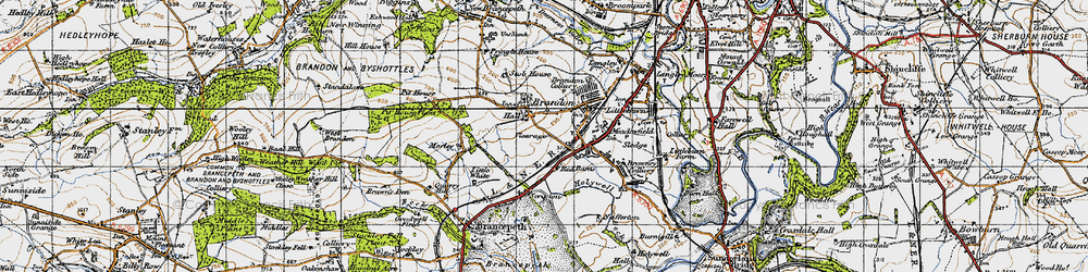 Old map of Brandon in 1947
