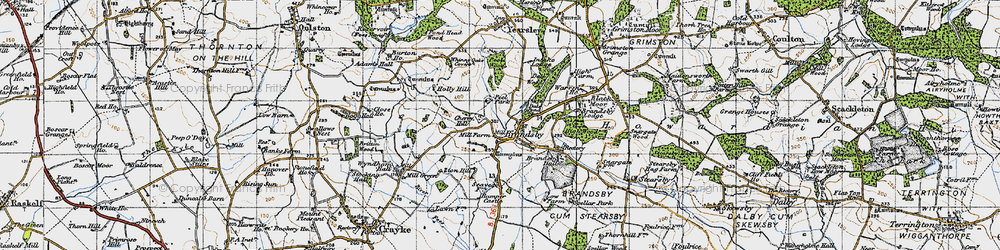Old map of Whinny Oaks Covert in 1947