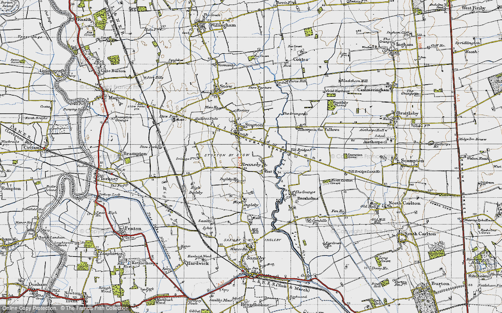 Old Map of Historic Map covering Aldhow Grange in 1947