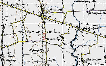 Old map of Aldhow Grange in 1947