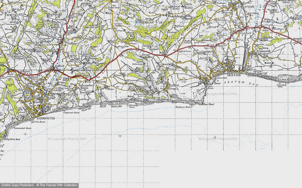 Old Map of Branscombe, 1946 in 1946