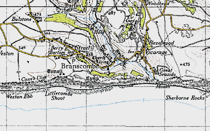 Old map of Branscombe in 1946