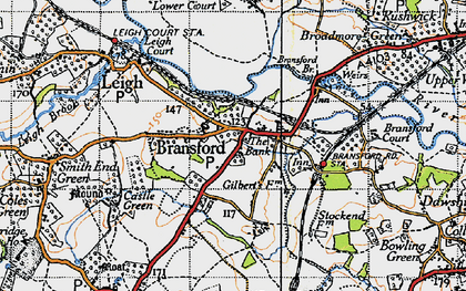 Old map of Bransford in 1947
