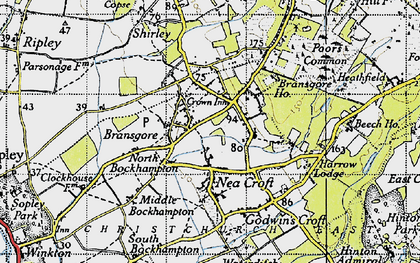 Old map of Bransgore in 1940