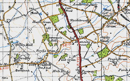 Old map of Branson's Cross in 1947