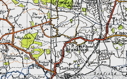 Old map of Brantham in 1946