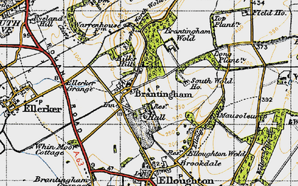 Old map of Brantingham in 1947