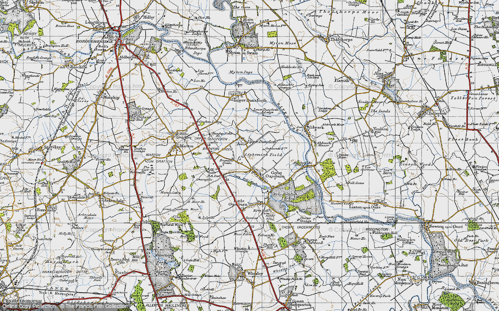 Old Map of Historic Map covering Lightmire Field in 1947