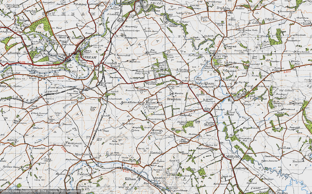 Old Map of Branxton, 1947 in 1947