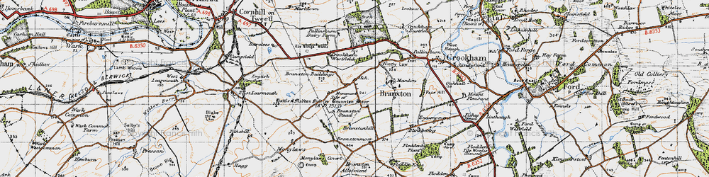 Old map of Branxton in 1947