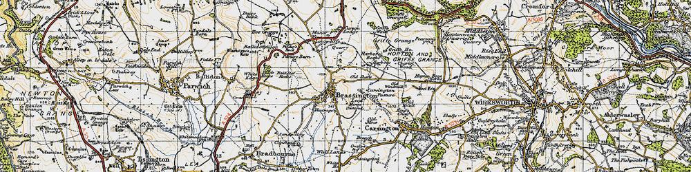 Old map of Brassington in 1947