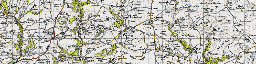 Old map of Bratton Fleming in 1946