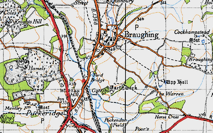 Old map of Braughing in 1946