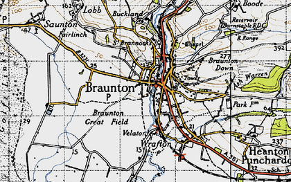 Old map of Braunton in 1946