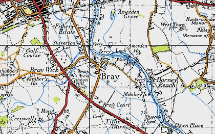 Old map of Amerden Ponds in 1945