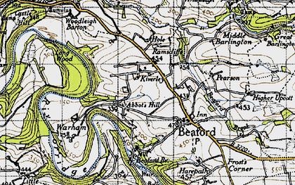 Old map of Woolleigh Barton in 1946
