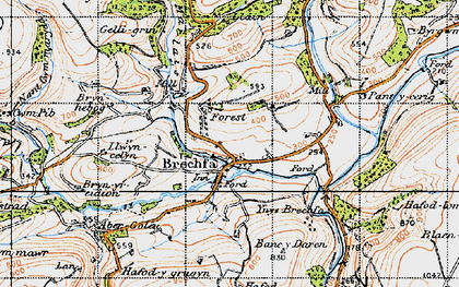 Old map of Ynys-Brechfa in 1947