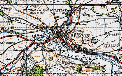 Old map of Brecon in 1947