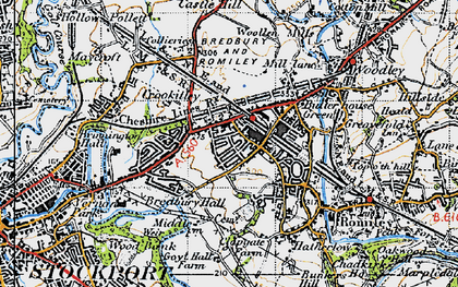 Old map of Bredbury in 1947