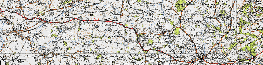 Old map of Bredenbury in 1947