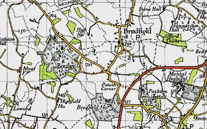 Old map of Bredfield in 1946