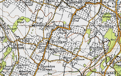 Old map of Bredgar in 1946