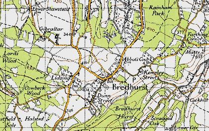 Old map of Bredhurst in 1946