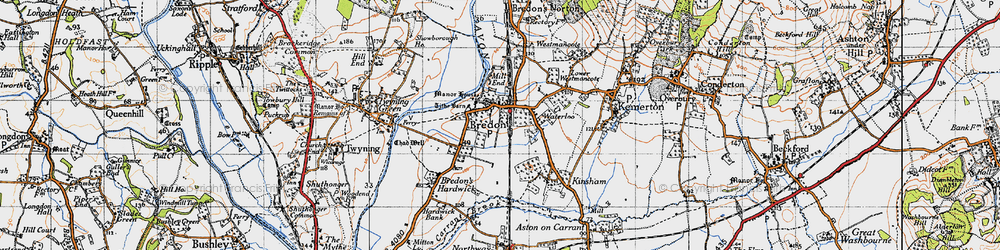 Old map of Bredon in 1946