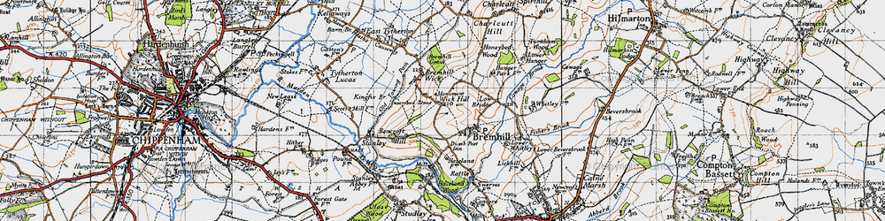 Old map of Bremhill in 1940