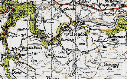 Old map of Withycombe Ridge in 1946