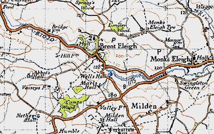 Old map of Brent Eleigh in 1946
